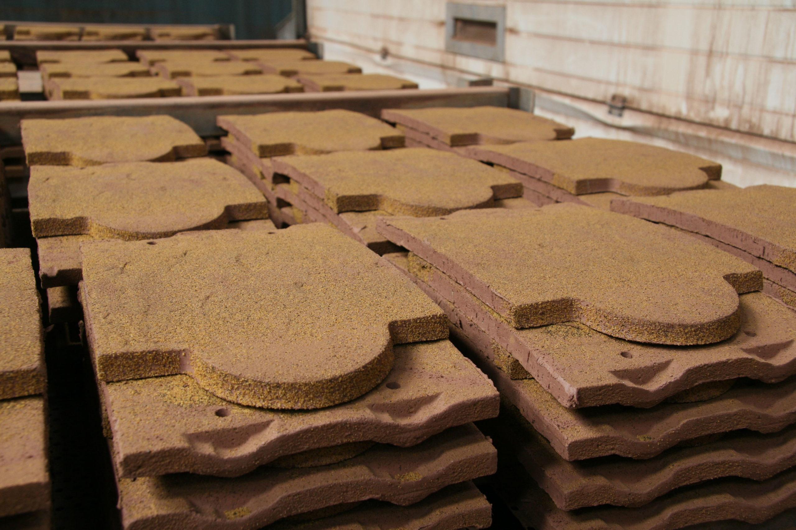 Drying handmade roof tiles