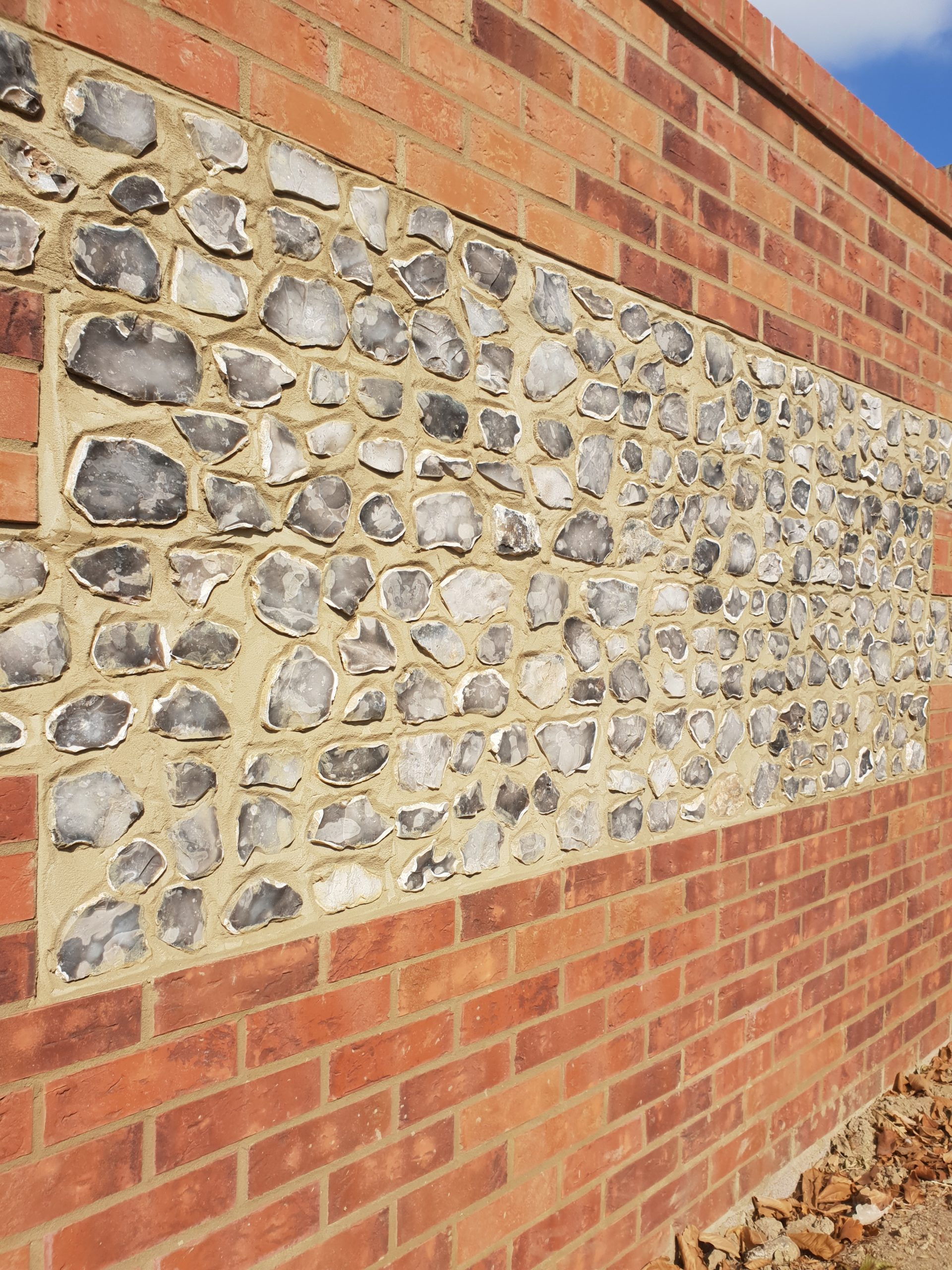 Flint block wall