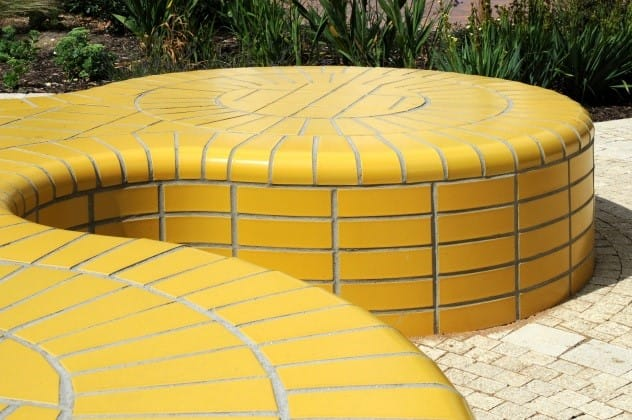 Glazed brick seating yellow