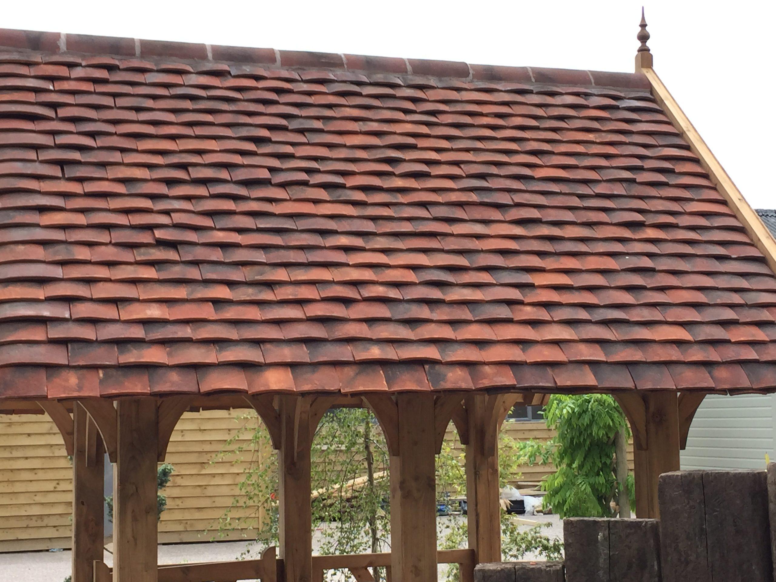 Red roof tiles handmade