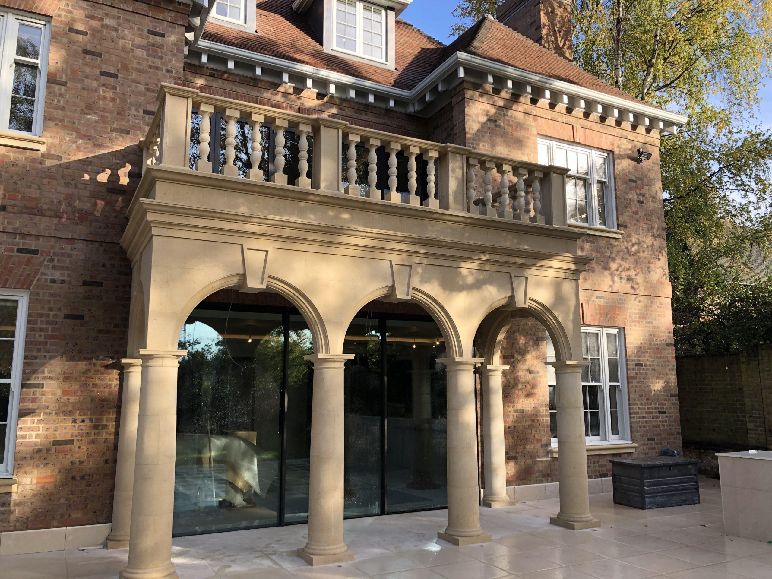 Natural stone portico, stone balustrades, stone columns