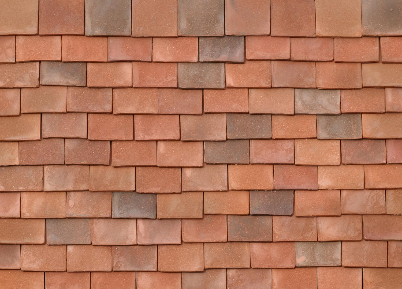 Red handmade roof tiles