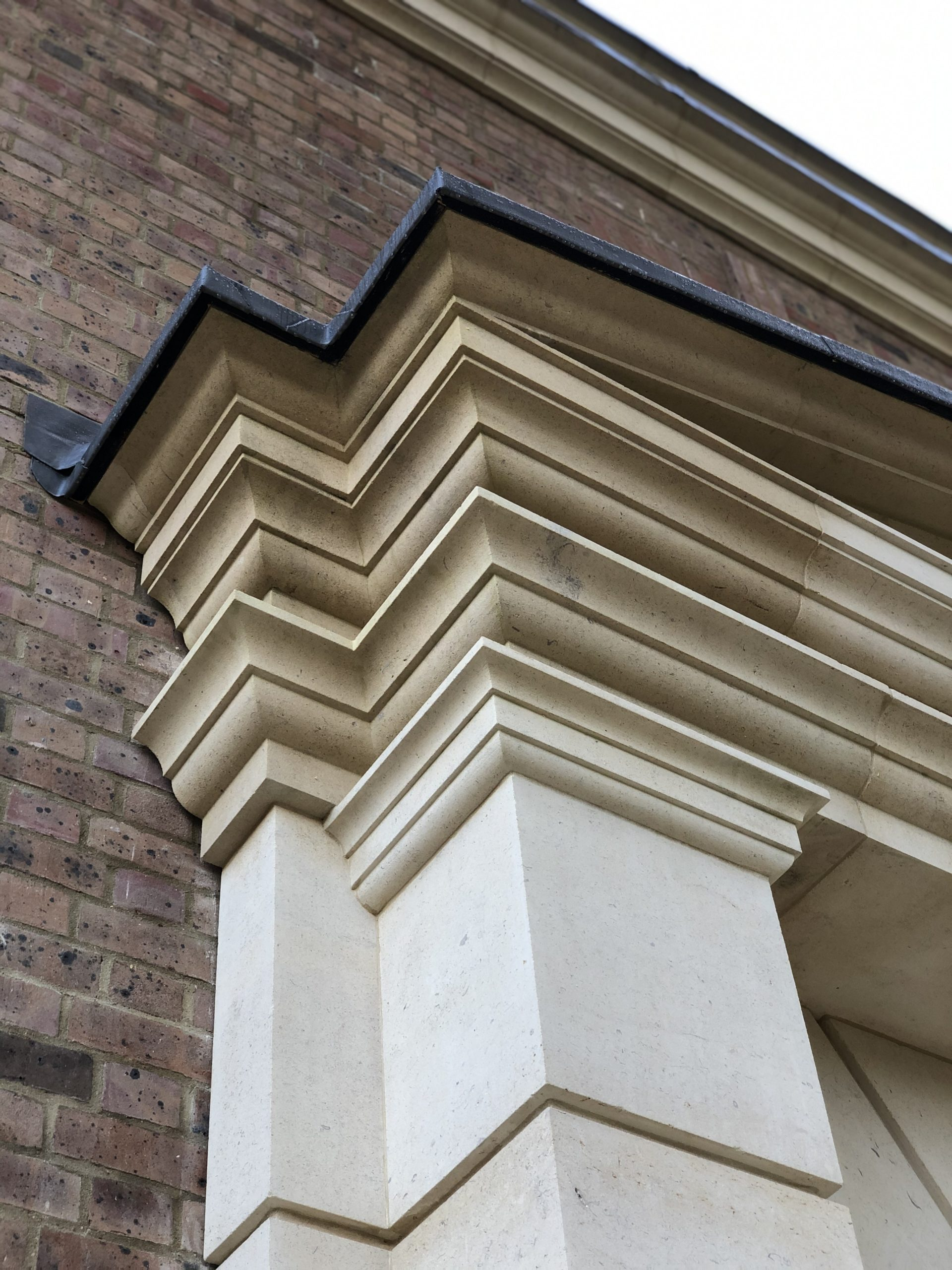 Natural stone front entrance portico