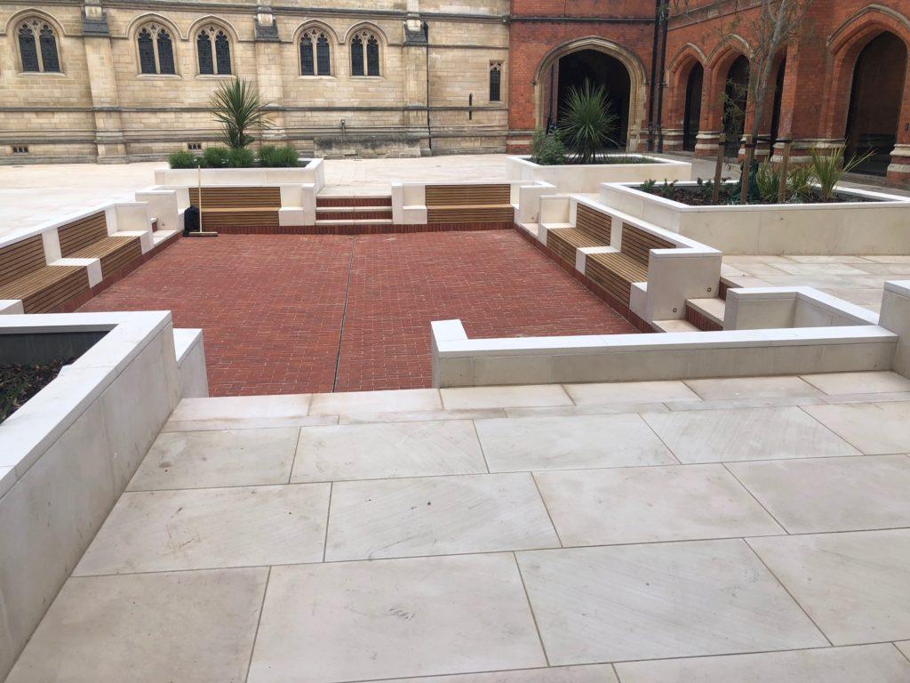 Eton College Courtyard Brick paving and stone seating
