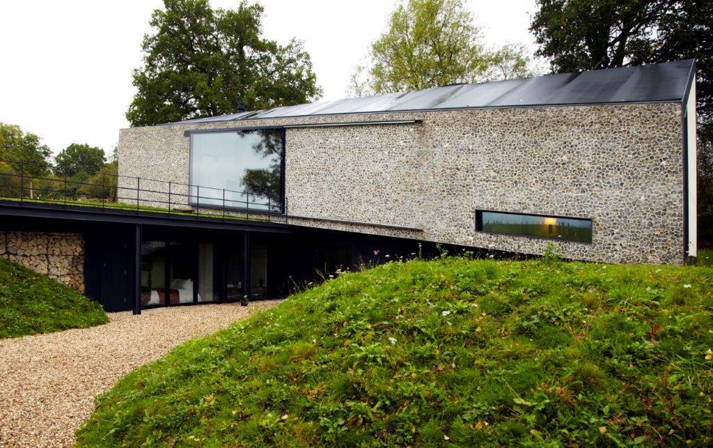 Grand designs flint wall bespoke home