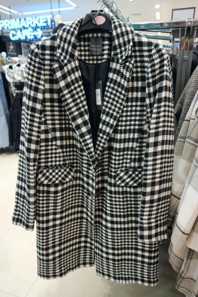checked black and white coat from Primark