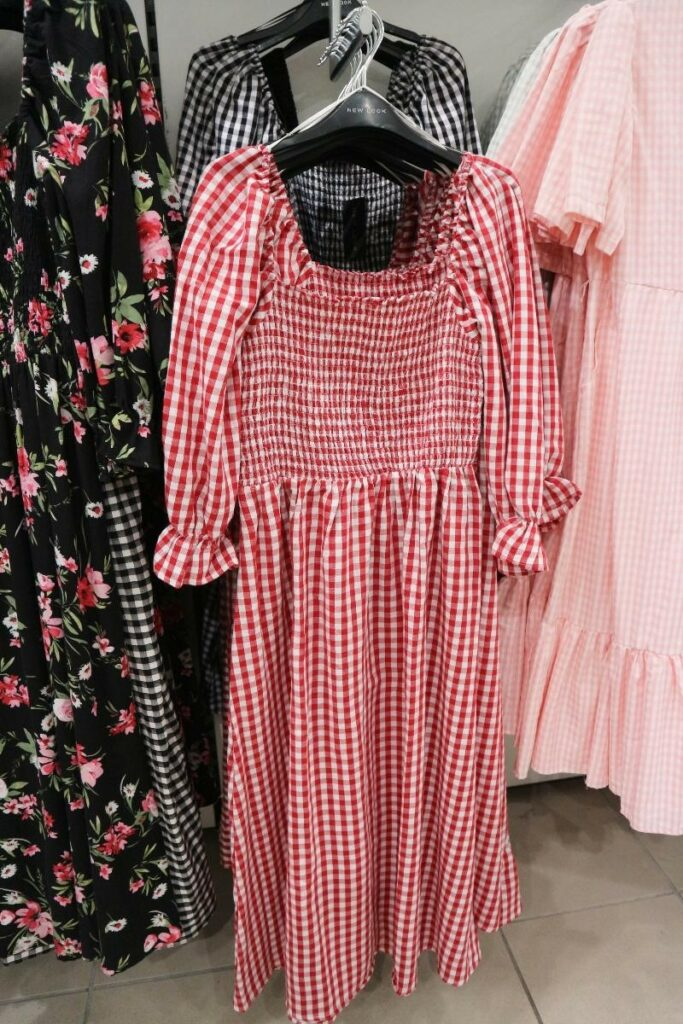gingham red and white dress