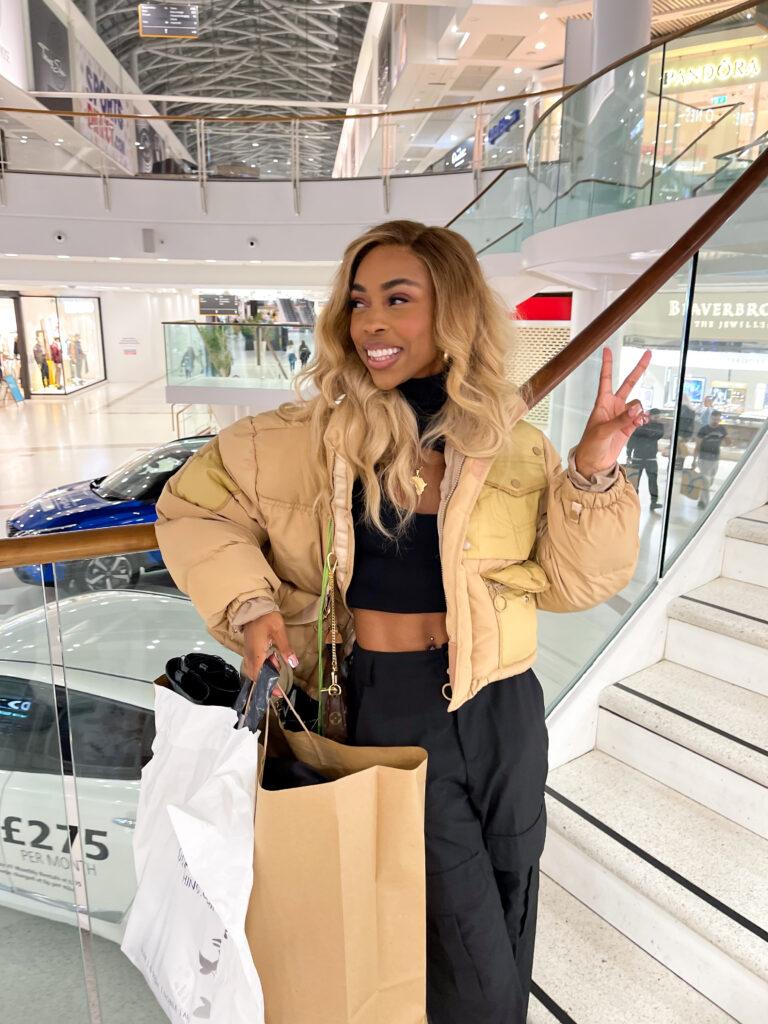 Nicole Masuku shopping at Braehead Glasgow